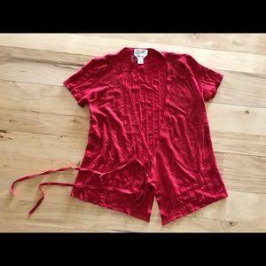 Talbots Red Short Sleeve Cardigan Sweater S 4 6